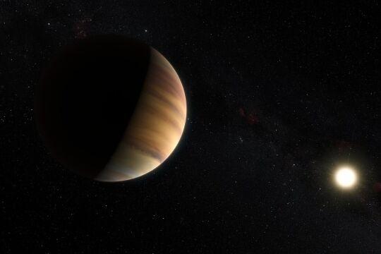 Exoplaneten - Exoplaneten kreisen um Sterne außerhalb unseres Sonnensystems. 1995 wurde mit<em> 51 Pegasi b </em>der erste Exoplanet entdeckt. Er befindet sich im Umlauf eines 50 Lichtjahre entfernten Sterns (Bild: Künstlerische Darstellung). - © ESO / M. Kornmesser / Nick Risinger (skysurvey.org) (cc-by 4.0)