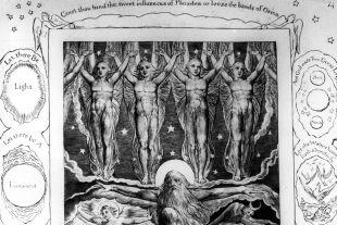 Schöpfungsbilder - © Getty Images / Hulton Archive (Illustration von William Blake (1757–1827) zur  Beschreibung der Schöpfung im Buch Ijob (Ijob 38,7))