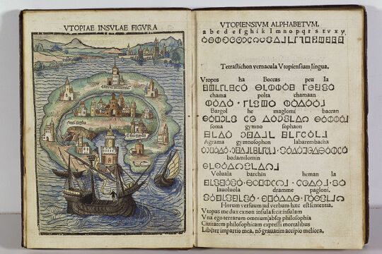 """Berühmter """"Nicht-Ort"""" - In Thomas Morus' """"Utopia"""" (hier zu sehen das Frontispiz der Ausgabe von 1516) herrscht keine absolute Gleichheit – Geschlechterunterschiede und Sklaverei bestehen fort. - © Foto: © The Trustees of The Wormsley Fund"""