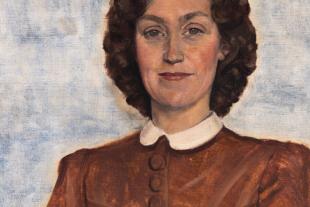 """Porträt einer Dame - © elka Platek """"Porträt einer Dame im roten Kleid"""", 78 × 57,5 cm, Öl auf Leinwand,1942; Foto: Hubert Auer /  Museum Kunst der Verlorenen Generation"""