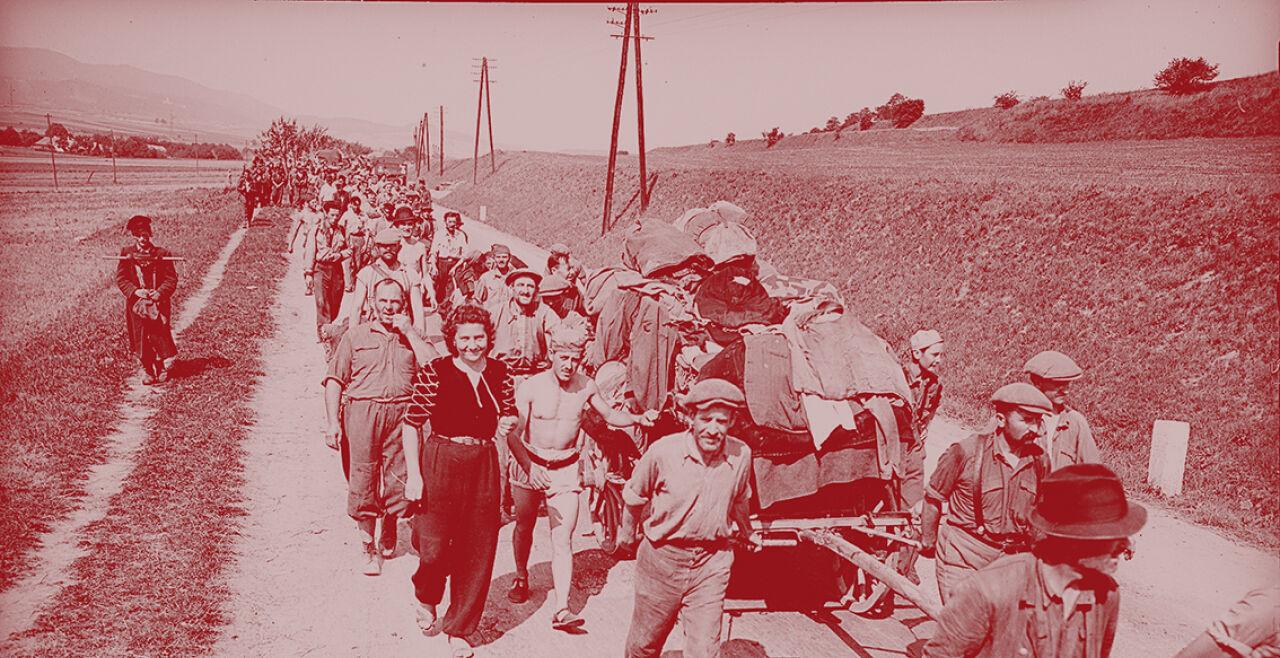 """Ungarische """"displaced persons"""" auf dem Weg vom KZ Mauthausen zurück in ihre Heimat - © Foto: picturedesk.com / United States Information Servic / ÖNB-Bildarchiv (Bildbearbeitung: Rainer Messerklinger)"""
