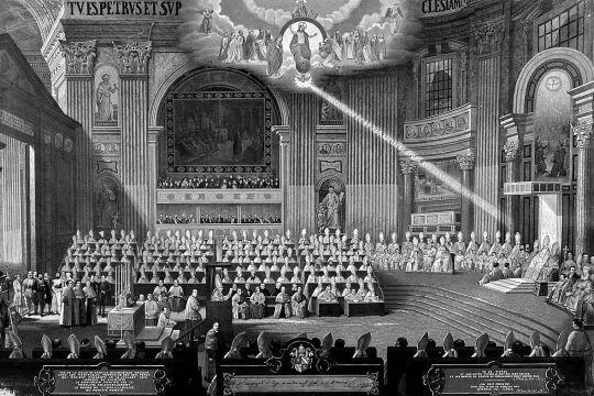 Unfehlbarkeitsdogma - © CH Beck - Gemälde «Die Proklamation der Unfehlbarkeit des Papstes auf dem !. Vatikanum» von Michele Menghini im Palazzo Mastai, Senigallia