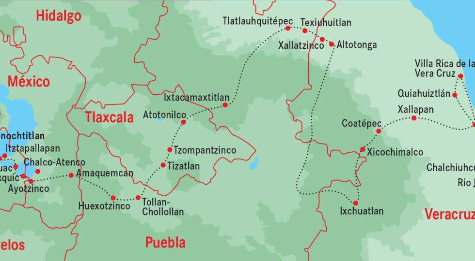 Ruta de Cortes - <strong>Der Tod kommt auf spanischen Sohlen </strong><br /> Es waren nicht mehr als 300 Soldaten, die sich unter dem Kommando des Ritters Cortés im Frühjahr 1519 aufmachten, sich das Gold der Eingeborenen Mexikos zu holen. Von Kuba aus überquerten die Schiffe der Eroberer den Golf von Mexiko und landeten am 21. April bei San Juan de Ulua im Gebiet der Maya, die die Eindringlinge sofort wieder zum Ablegen zwangen. Kurze Zeit später versuchten die Spanier eine Landung in Vera Cruz, diesmal mit mehr Erfolg. Da Cortés fürchtete, vom spanischen Gouverneur in Kuba abberufen zu werden, unterstellte er sich direkt dem König von Spanien und verbrannte die Schiffe. Doch der Marsch ins Landesinnere wurde erst zum Erfolg, als Cortés einen mit den Atzteken verfeindeten Indianerstamm für sich gewinnen konnte. So erreichte er im November des Jahres nach beschwerlichem Marsch die aztekische Hauptstadt Tenochtitlan. Cortés wurde vom dortigen Herrscher wie ein Gott empfangen, gemäß einer Legende, wonach ein mächtiger Schlangengott über das Meer in die Heimat zurückkehren werde. - © Grafik: Rainer Messerklinger (Quelle: Wikipedia)