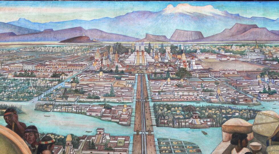 Markt in Tlatelolco - <strong>Blut und Gold </strong><br /> Die Spanier ließen sich nicht lange bitten und verlangten den Goldschatz der Azteken. In Abwesenheit von Cortés richteten sie schließlich ein Blutbad unter Hunderten Indigenen in der Stadt an. Das erst veranlasste die Einwohner zur Gegenwehr. Die Spanier und ihre Verbündeten wurden zur Hälfte getötet, Cortés entkam, und hatte auf der Flucht das Glück, dass unter den Azteken die Pocken und die Masern ausbrachen, die die spanischen Soldaten eingeschleppt hatten. So konnte Cortés mit vergrößerter Streitmacht zurückkehren und die Stadt erneut einnehmen. Diesmal aber tötete er den Großeteil der Bewohner und ließ weite Besitzungen an Spanier verteilen. Tenochtitlan wurde in Mexikostadt umbenannt und zum Sitz des spanischen Vizekönigs ausgebaut. Die indianischen Ureinwohner wurden versklavt oder starben. 100 Jahre nach dem Einfall der Spanier lebten von 25 Millionen Azteken und ihren Nachbarvölkern nur noch knapp zwei Millionen. Cortés starb 1547 in Spanien. - © Bild: Wikipedia / Diego Rivera (gemeinfrei)