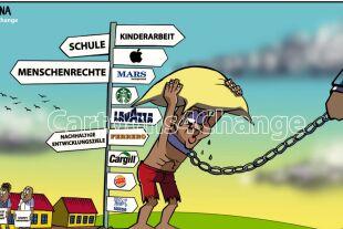 """Karikaturisten zeichnen gegen Kinderarbeit und für Kinderrechte - 2021 wird das """"Internationale Jahr zur Abschaffung der Kinderarbeit""""; für @Cartoons4Change werden 365 Karikaturisten aus aller Welt jeden Tag des Jahres gegen Kinderarbeit anzeichnen. - © @Cartoons4Change"""
