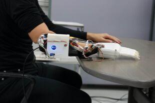 Prothesenhand - Die Prothese verwendet Signale aus Elektroden und maschinelles Lernen, um Handpositionen zu kopieren. - © Hiroshima University Biological Systems Engineering Lab