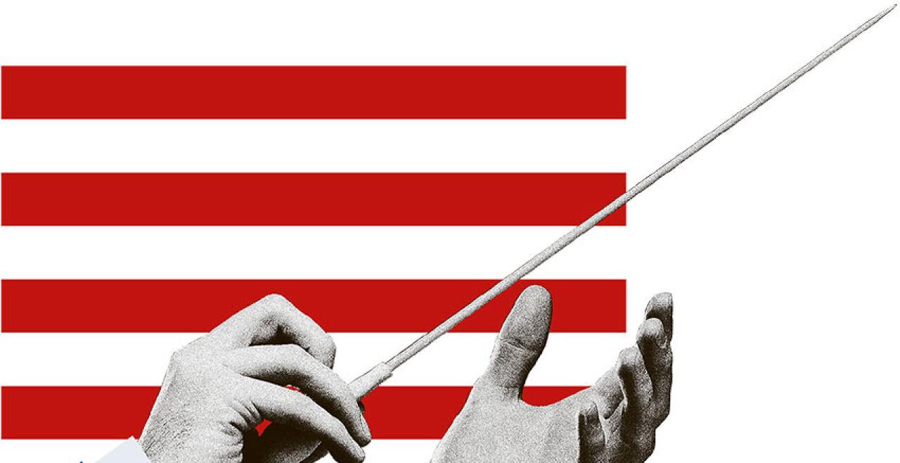 Der amerikanische Dirigent - © Illustration: Rainer Messerklinger  (unter Verwendung eines Bildes von iStock / Jirsak)