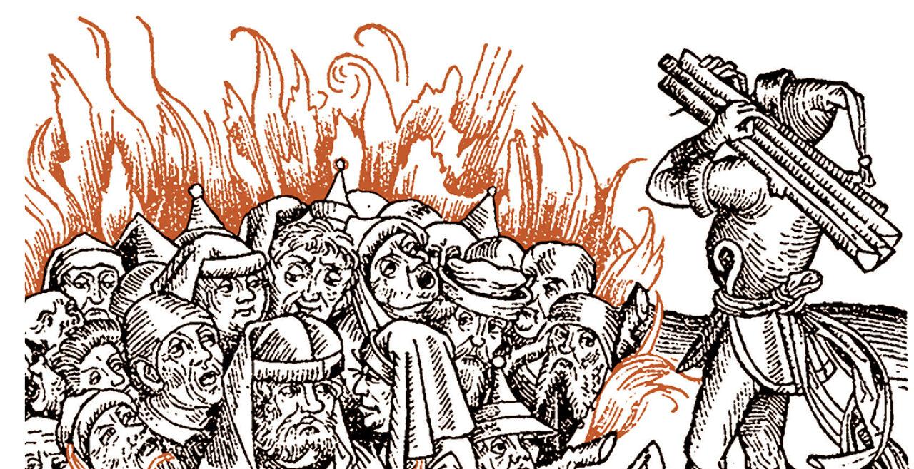 Judenverbrennung Schedel'sche Weltchronik - © Illustration: Wikipedia (gemeinfrei); Bildbearbeitung: Rainer Messerklinger -  Judenverbrennung, Holzstich aus der Schedel'schen Weltchronik,  Nürnberg 1493