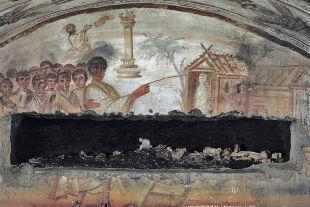"""lazarus - © picturedesk.com / akg-images / Andrè Held   - """"Auferweckung des Lazarus"""", Fresko aus dem 4. Jh., Katakomben an der Via Latina, Rom"""