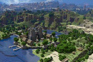 Minecraft-Welt aus Ecken & Kanten - Minecraft-Spieler gestalten ihre Welten aus lauter Blöcken. Die Würfel bestehen aus Erde, Holz oder Erzen und werden von den Spielern in Bergwerken abgebaut – daher der Name des Spiels.<br />  - © Screenshot: wallup.net/minecraft-78