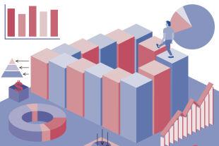 Wenn der BIP-Zwang  Lebensglück frisst  - Wachsen, wachsen ohne Rast – und zunehmend auch ohne Ziel: Der Weg der Wirtschaft steht massiv in Frage. - © Illustration: Rainer Messerklinger